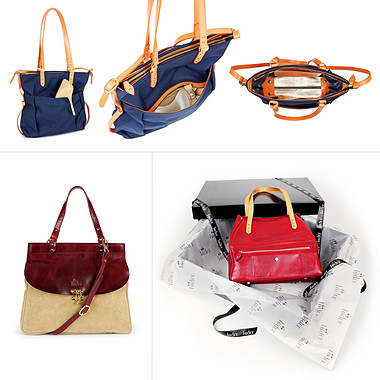 Collage of handbag product photography