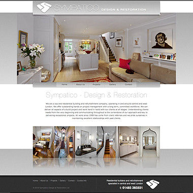 Sympatico website screenshot including logo design, website design and all architectural photography